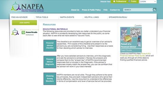 Napfa web page
