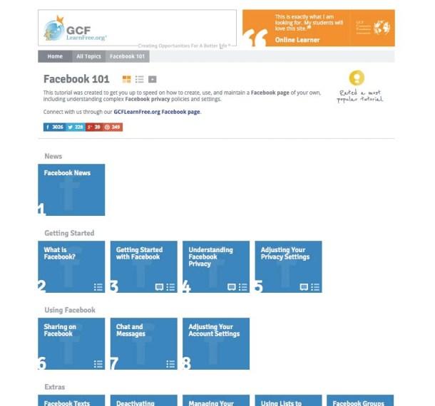 screenshot gclearnfree.org facebook